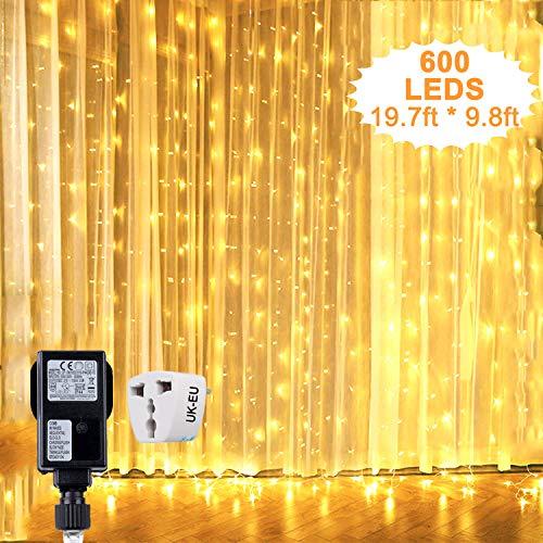Hezbjiti 600 LED Cortina de Luces 6m x 3m, 8 Modos Cadena de Luz Blanco Cálido Resistente al Agua, Decoración de Navidad, fiestas, bodas, jardín etc.[Clase de eficiencia energética A+]