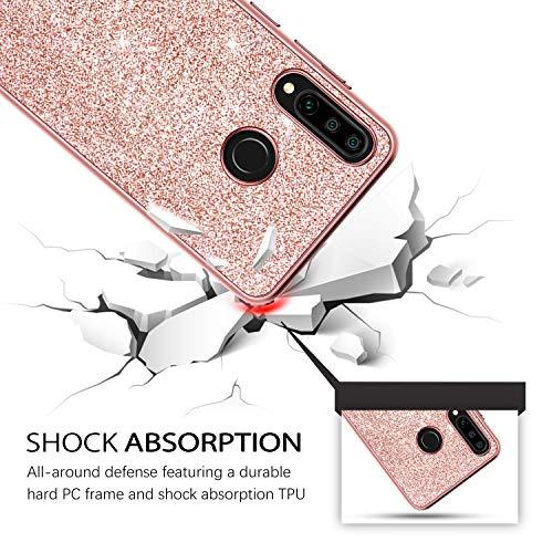 DUEDUE Huawei P30 Lite Hülle, Huawei P30 Lite Glitzer Hülle, Handyhülle Huawei P30 Lite Schutzhülle TPU Cover PC Schale Case Hülle für Huawei P30 Lite Rosegold - 2