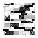 Render 6 Pièces 3D Auto-Adhésif Tuile Murale Autocollant, Peel and Stick Papier Peint Vinyle Anti Moule Salle De Bains Cuisine Décoration 0.9 sq.ft/pièce (Style Marbre Blanc Noir)