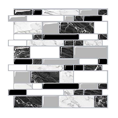 Render 6 Pieces 3D Self Adhesive Wall Tile Sticker, Peel and Stick Vinyl Wallpaper Anti Mold Bathroom Dinning Room Kitchen Hotel Decoration 11x11.8 0.9 sq.ft/Piece (New Schwarz-weißer Marmor-Stil)