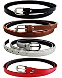 Devil Women's PU Leather Belts Combo of 4 (Black,Brown,White & Red)