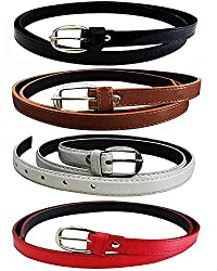 Devil Womens PU Leather Belts Combo of 4 (Black,Brown,White & Red)