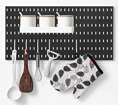 Kit de combinación de tablero con estante y ganchos sin perforar para garaje, sala de estar, cocina, baño, oficina, 55,88 x 28 cm,...