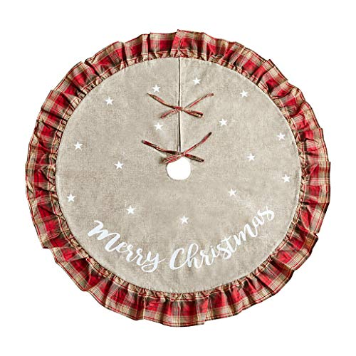 Christmas Tree Skirt 48 inch Red and Black Plaid Ruffle Edge Linen Burlap Large Xmas Tree Skirts for Holiday Party Christmas Decorations