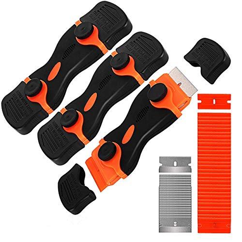 GISSVOGEEK Double -use Razor Blade Scraper, 3-Pack Auto Window Tint Vinyl Tool Application with 30 Pcs Plastic+20 Pcs Steel Blades for Removing Labels/Stickers/Decals