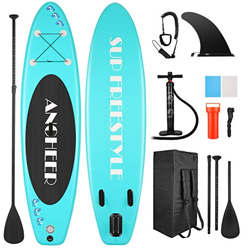 YUEBO Tablas hinchables de Paddle Surf, Tabla de Stand up Paddle con Paleta de Aluminio Ajustable Sup, Bomba de Mano, Correa para el Tobillo, Aleta Central, Mochila Grande