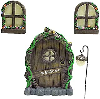 Door Window, Garden Glow in the Dark Fairies Sleeping Door and Window Tree Statues Tree Hugger Yard Luminous Poly Garden S...