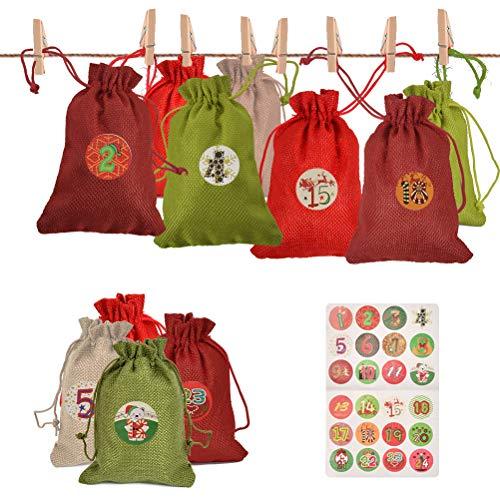 BUYGOO 24PCS Christmas Burlap Bags, Advent Calendar Bags Sacks Drawstring Christmas Bags Jute Pouches with Drawstring…