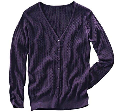 AdoniaMode Damen Strick-Jacke Cardigan Zopf-Muster Baumwolle deutsche große Größen Lila Gr.44/46