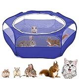 Vavopaw Valla para Mascotas Plegable, Bolsa Almacenamiento Portátil de Animales Pequeños, Tienda Jaulas Transpirable Aire Libre para Indias, Conejos, Hámsters, Chinchillas, Erizos, Gatos - Azul Oscuro
