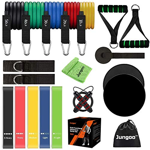 Jungoo 21 Pack Resistance Bands Set Workout Bands, 5 Stackable Exercise Bands Stackable to 150lbs, 5 Loop Bands 2 Core...