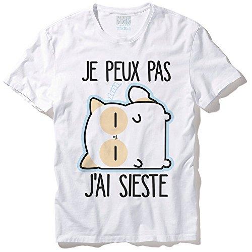 Pouny Pouny T-Shirt Mixte Je Peux Pas J'Ai Sieste Chibi et Kawaii - Made in France - Licence Officielle Chamalow Shop (XL)