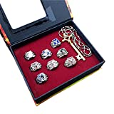 HLZG 8 Pcs Attack on Titan Ring Set, and Anime Cosplay Costume Necklace Pendant (silver 2)