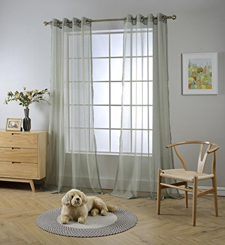MIUCO 2 Panels Grommet Textured Solid Sheer Curtains 84 Inches Long for Living Room (2 x 54 Wide x 84' Long) Sage