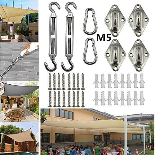 Atack-B Montagekit Für Markisenbefestigung, 5MM Markisenzubehör 24-teiliges Edelstahl-Montagekit Für Die Befestigung Von Dreiecken, 4-Eck-Markisen, Sonnensegel, Banner Befestigt (M5)