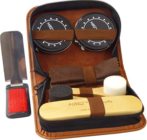 Deluxe Shoe Care Kit - Genuine 100% Horsehair Brush, all accessories