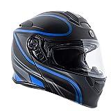 Torc T2815VP422 Full Face Modular Helmet (Flat Black, Vapor Blue, S)