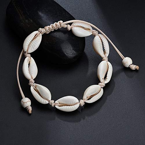 Hourongw Pulsera de tobillo de moda accesorios regalos concha playa pie cadena Shell
