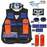 Nerf Taktische Weste Kit, Kinder Taktische Weste Jacke für N-Strike, Nerf Zubehör Set (Black Vest Kits 37pcs)
