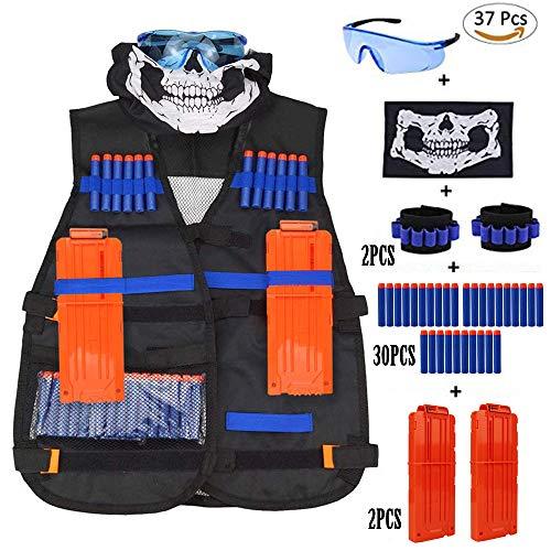 Kit de Chaleco táctico para n Strike Elite nerf Series con mascarilla, muñequeras de Mano, Gafas Protectoras, Balas de Recarga de 30 Piezas, Clip de Recarga rápida de 2 Piezas (Black Vest Kits 37pcs)