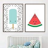 2 piezas de carteles artísticos, impresiones, helado, sandía, nórdico, arte de pared, lienzo, imágenes decorativas, decoración para habitación de bebé, niña, niño, 50x70 cm / 19,7 'x 27,6' sin marco