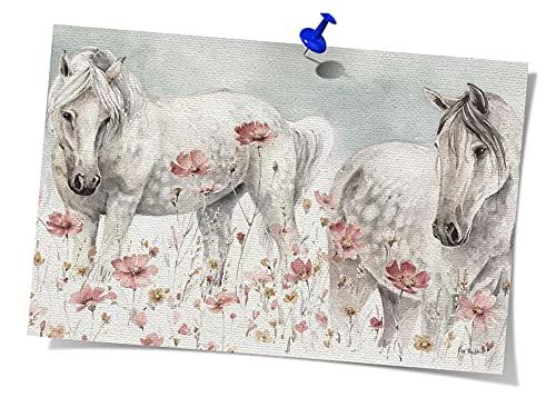 LTGBQNM Arte de la Pared de Animales Caballos Salvajes Poster Pintura al óleo sobre Lienzo Sala de Estar Decoración de Dormitorio 20x28inchx1 Sin Marco
