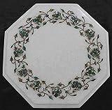 Gifts And Artefacts Achteckige Marmor-Sofa-Tischplatte, Betttisch, Tischplatte mit glänzender Abalone-Muschel, eingelegte Arbeiten, kann im Büro, Gartentisch, 30,5 cm