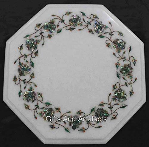 12 x 12 pulgadas blanco mármol mesa de café Top elegante mesa lateral con lapislázuli piedra arte