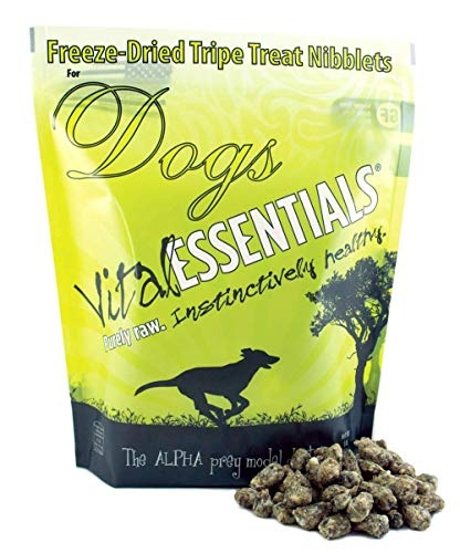 Vital Essentials Freeze-Dried Beef Tripe - Nature's Super Food - USA Made - Grain Free - Gluten Free Nibblets Dog Treats - 1 Pound Resealable Bag