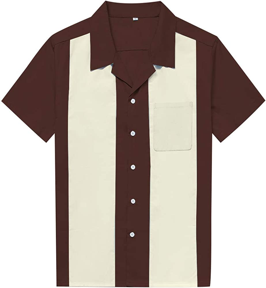 Anchor MSJ Men's 50s Retro Camp Rockabilly Style Cotton Mens Shirts Short Sleeve Fifties Bowling Casual Dress Shirts