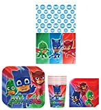 PJ Masks Birthday Party Supplies Bundle Kit Including Plates, Cups, Napkins and Table cover - 8 Guests