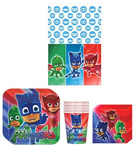 PJ Masks Suministros para fiesta de cumpleaños, incluye platos, tazas, servilletas y mantel, 8 invitados