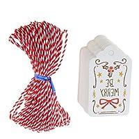 #N/A 50xヴィンテージ紙クリスマスギフトタグより糸でカードの装飾をぶら下げ - ちょう結び
