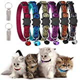 GingerUP Juego de 6 Collares para Gatos de Seguridad con Campana, Ajustables de 20 a 25 cm