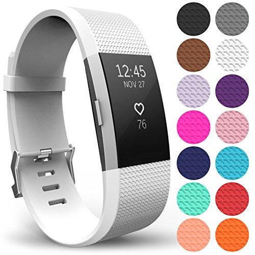 Yousave Accessories Armband Kompatibel mit Fitbit Charge 2, Ersatz Fitness Armband und Uhrenarmband, Silikon Sportarmband und Fitnessband, Wristband Armbänder für Fitbit Charge2 - Klein, Weiß