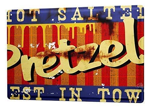 SECOFE Placa de decoración de los Estados Unidos Pretzel Nostálgico Road Sign8 x 12 in Estilo Vintage Colorfast Placa de metal para decoración de pared para Cafe Bar Restaurant Pub Sign