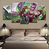 GBxebenYN02 5 lienzos Decorativos de Moda y estéticos 5 Paneles LOL League Legends Quinn Juego de cabecera Lienzo Decorativo Decoración del hogar Lienzo de Arte estético 200x100cm
