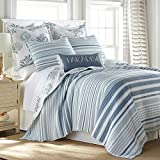Levtex home - Truro Quilt Set - King Quilt + Two King Pillow Shams - Stripe in Shades of Blue - Quilt Size (106x92in.) and Pillow Sham Size (36x20in.) - Reversible - Cotton