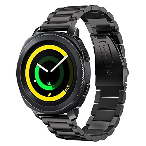 SUNDAREE Kompatibel mit Gear Sport Armband,20MM Edelstahl Metall Armband Schwarz Ersatz Watch Strap Uhrenarmband für Samsung Gear Sport SM-R600/Garmin vivoactive 3/Withings HR 40mm(Sport Black)