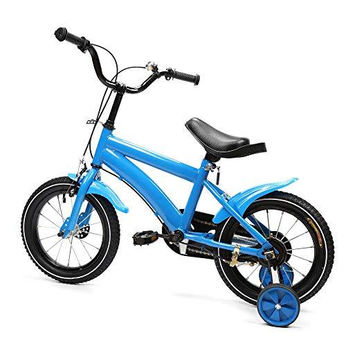 Bicicleta infantil de 14 pulgadas, marco de acero al carbono, antideslizante, marco de acero de alto carbono, amortiguador, manillar ajustable con rueda de protección (azul)