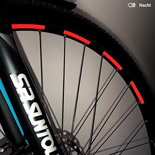 Motoking Fahrrad-Reflektorenaufkleber - Rot - 26 Aufkleber im Set - Breite: 7 mm - reflektierende Felgenaufkleber für Trekkingbike-, Fahrradfelgen & mehr