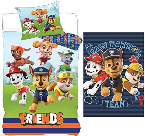 rainbowFUN.de Paw Patrol Baby Bedding Set 100 x 135 cm Cuddly Blanket 120 x 140 cm Small Children's Bed Fleece Blanket