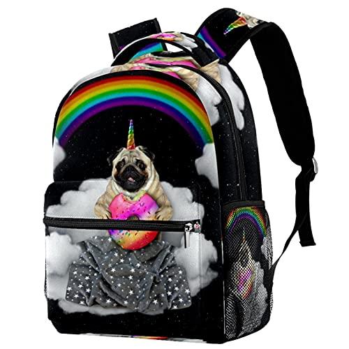 delayer Mochila de viaje unisex Perro Unicornio Mochila para portátil al aire libre de moda mochilas para niños y niñas