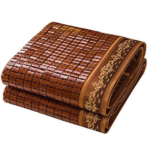Akupressur Karbonisierte Mahjong Sommermatte 1,8 M Bett Zusammenklappbare Sommermatte Sommer 1,5 M Studentenwohnheim 1,2 Bambusmatte rutschfest Atmungsaktiv (Color : Brown, Size : 180cm)