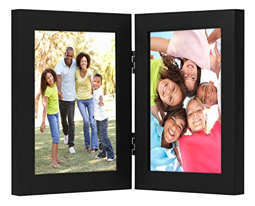 Americanflat Hinged Picture Frame | Displays Two 5x7 Photos. Shatter-Resistant Glass. Stands Vertically on Desktop or Tabletop.