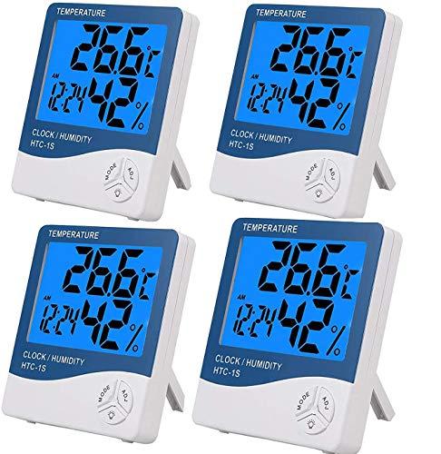 eSynic 4PCS Termómetro Higrómetro Digital con Gran LCD Medidor de Temperatura y Humedad con Luz de Fondo Termómetro interior Termómetro Exterior para Habitación Casa Oficina Interior y Exterior