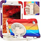 Coque pour iPad Mini 5/4, couleur arc-en-ciel, résistante aux chocs, robuste, support rotatif à...