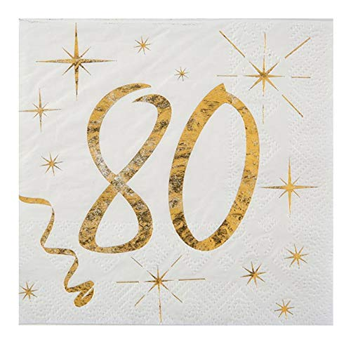 Santex Cocktail-Servietten 80. Geburtstag Golden Times 20er Pack
