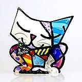 Romero Britto Giftcraft Mini Sugar Cat Figurine, Ceramic, Multi-Colour, One Size