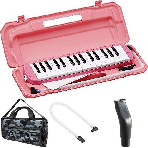 KC 鍵盤ハーモニカ (メロディーピアノ) ピンク P3001-32K/PK + 専用バッグ[Mono Camouflage] + 予備ホース + 予備吹き口 セット